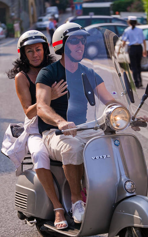 Portofino Poster featuring the photograph Portofino Scooter Couple by Neil Buchan-Grant