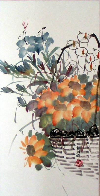 Chinese Painting Poster featuring the painting Blossoming by Ming Yeung