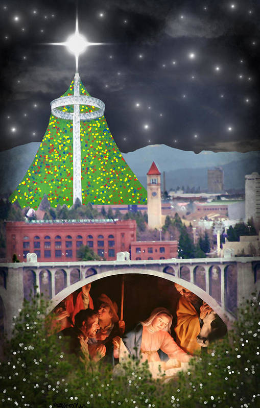 Christmas Poster featuring the digital art Christmas In Spokane by Mark Armstrong