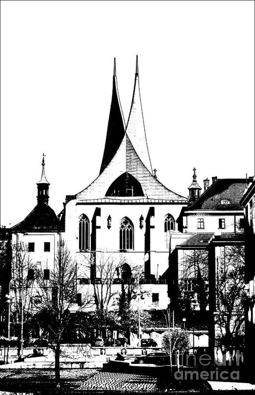 Prague Poster featuring the mixed media Emauzy - Benedictine Monastery by Michal Boubin