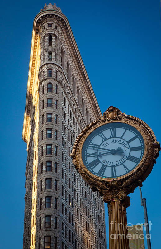 America Poster featuring the photograph Flatiron Clock by Inge Johnsson