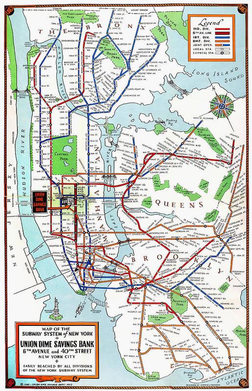 1940 Subway Map.New York Subway Map 1940 Poster