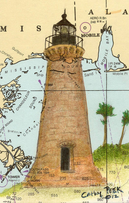 Round Poster featuring the painting Round Island Lighthouse Ms Nautical Chart Map Art by Cathy Peek