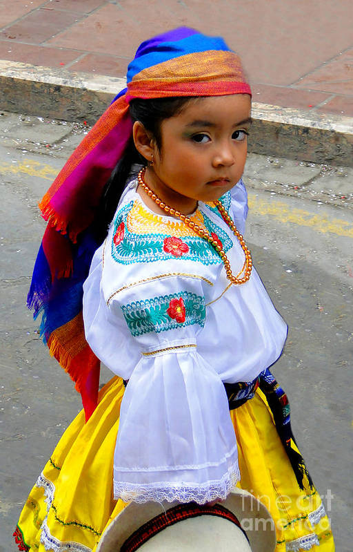 Girl Poster featuring the photograph Cuenca Kids 210 by Al Bourassa