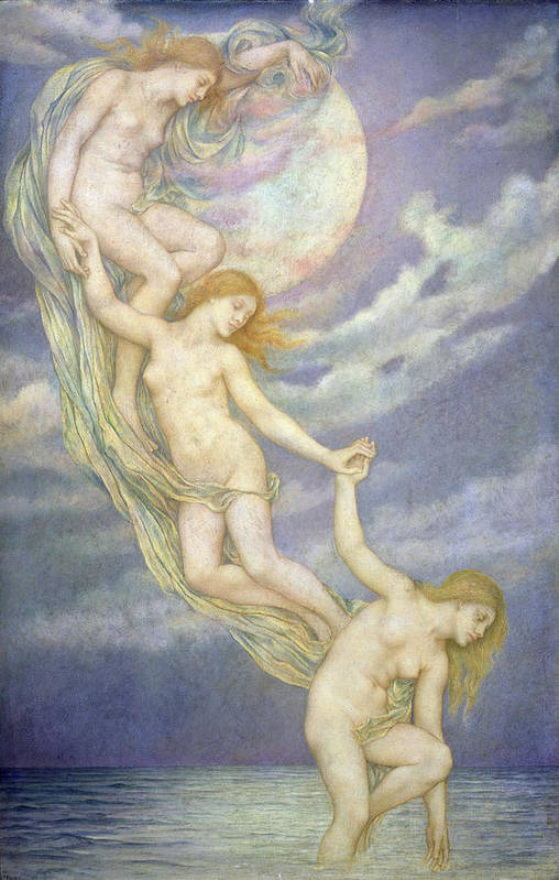 Moonbeam; Moon; Beams; Female; Nude; Drapery; Nocturne; Allegorical; Pre-raphaelite; Chain Poster featuring the painting Moonbeams Dipping Into The Sea by Evelyn De Morgan