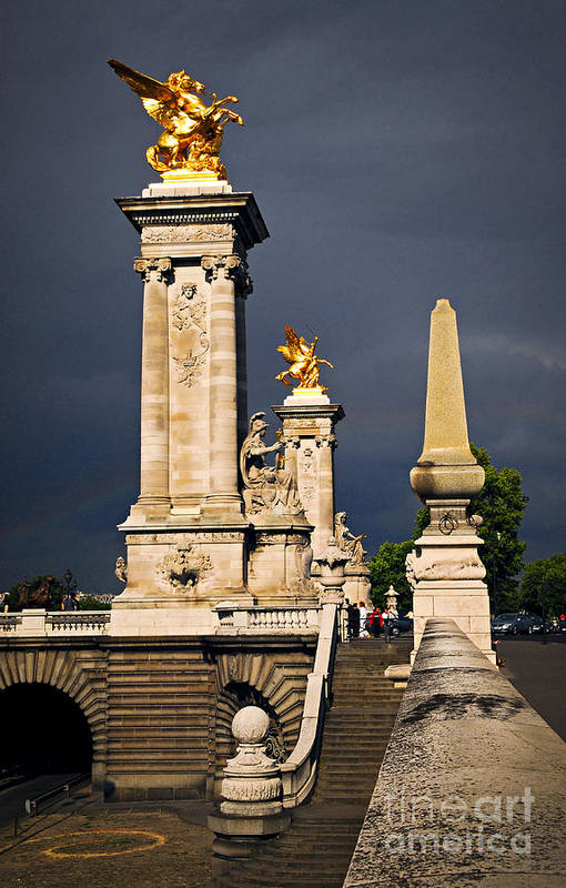 Bridge Poster featuring the photograph Pont Alexander IIi In Paris Before Storm by Elena Elisseeva