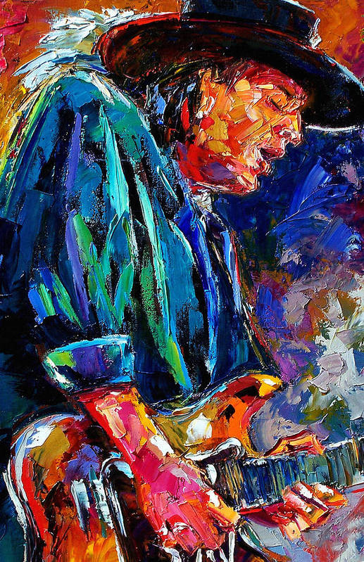 Stevie Ray Vaughan Poster featuring the painting Stevie Ray Vaughan by Debra Hurd