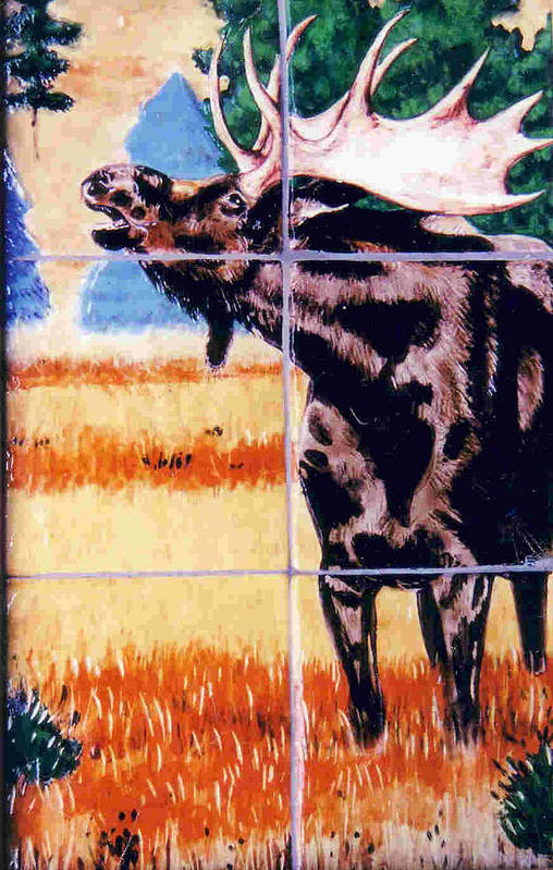 Moose Poster featuring the painting Bugling Moose by Dy Witt
