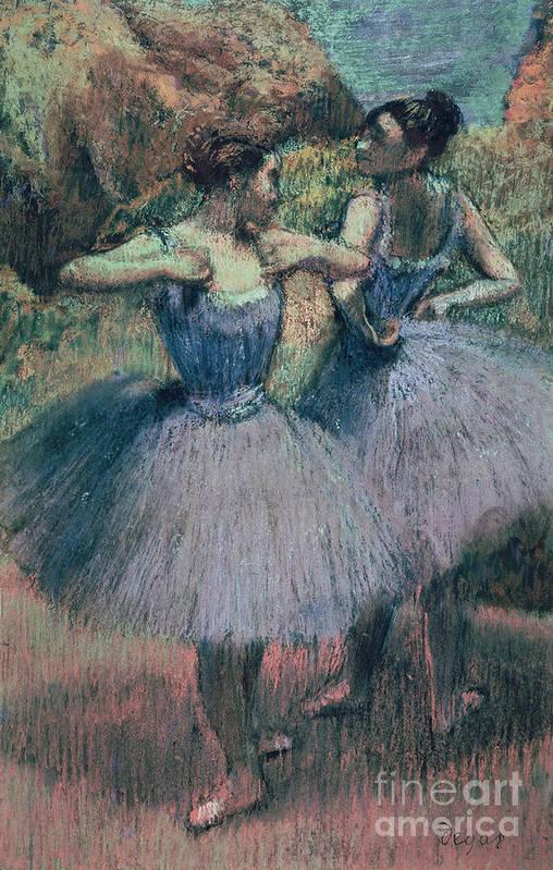 Dancers In Violet (pastel On Paper) By Edgar Degas (1834-1917) Poster featuring the pastel Dancers In Violet by Edgar Degas