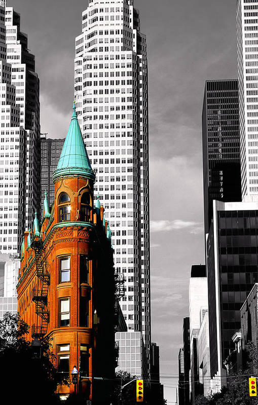 Architecture Poster featuring the photograph Flat Iron Building Toronto by John Bartosik