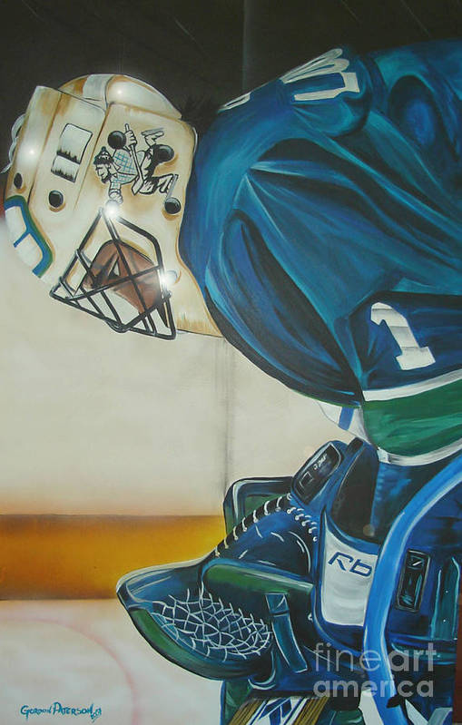 Roberto Luongo Poster featuring the painting Game On by Gordon Paterson