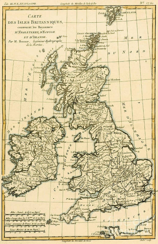 Maps Poster featuring the drawing The British Isles by Guillaume Raynal