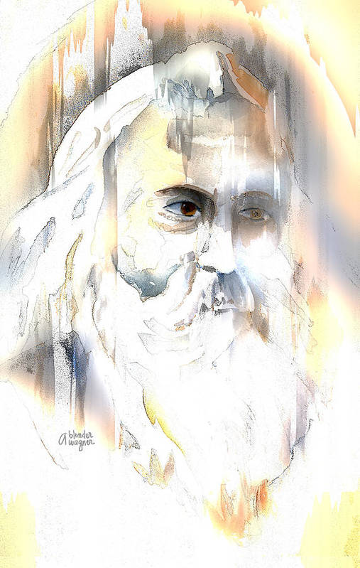 Old Man Poster featuring the mixed media The Prophet by Arline Wagner