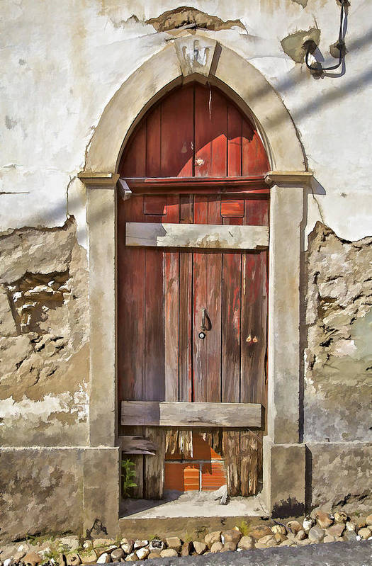 Abandon Poster featuring the photograph Red Wood Door Of The Medieval Village Of Pombal by David Letts