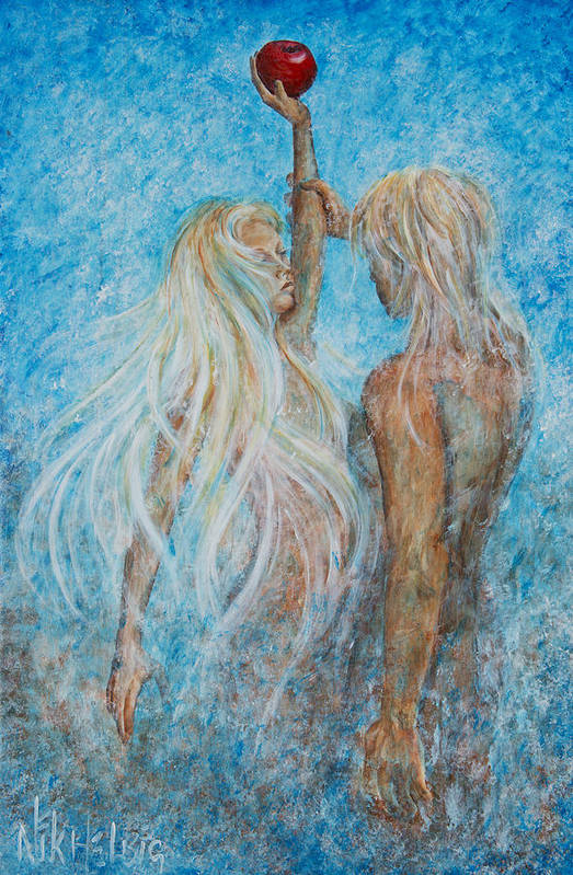 Adam And Eve Poster featuring the painting Adam And Eve by Nik Helbig