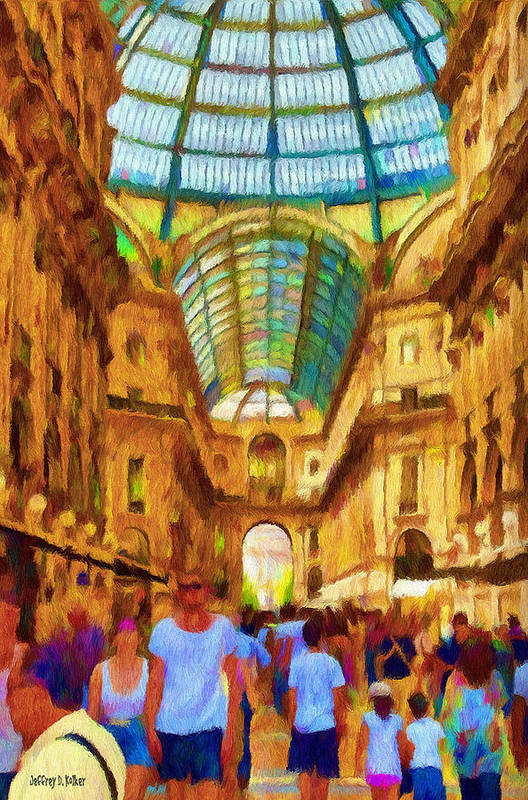 Galleria Poster featuring the painting Day At The Galleria by Jeff Kolker