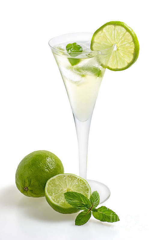 Champagne Poster featuring the photograph Drink With Lime And Mint In A Champagne Glass by Palatia Photo