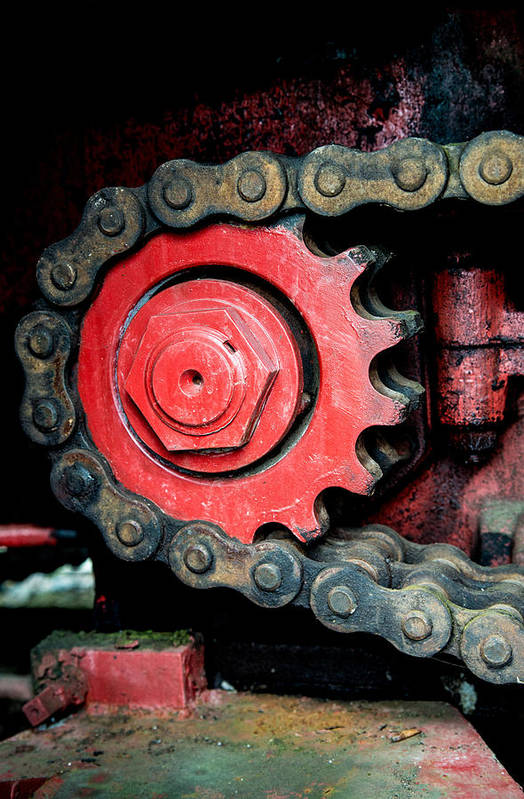 Gear Poster featuring the photograph Gear Wheel And Chain Of Old Locomotive by Matthias Hauser