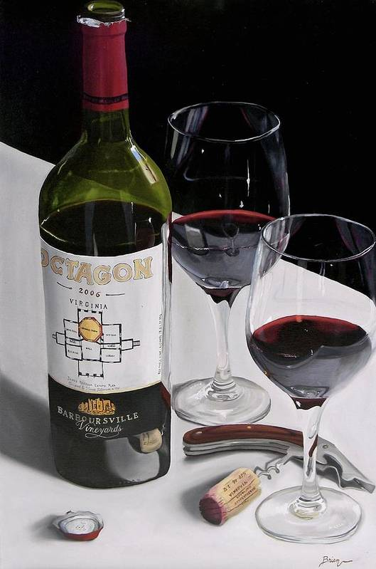 Wine Art Poster featuring the painting In Due Time by Brien Cole
