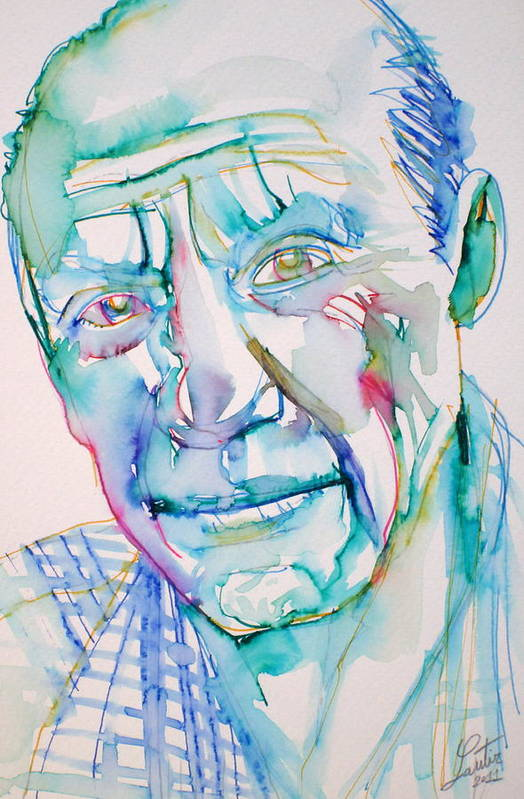 Pablo Poster featuring the drawing Pablo Picasso- Portrait by Fabrizio Cassetta