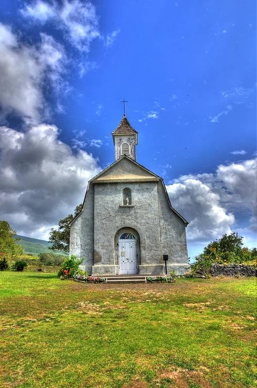 Church Poster featuring the photograph Saint Joeseph's Church Maui Hawaii by Puget Exposure