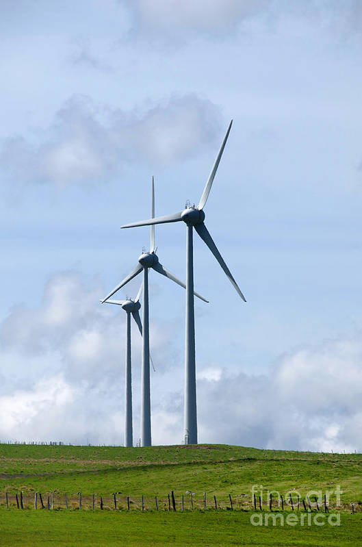 Wind Poster featuring the photograph Wind Turbines by Bernard Jaubert
