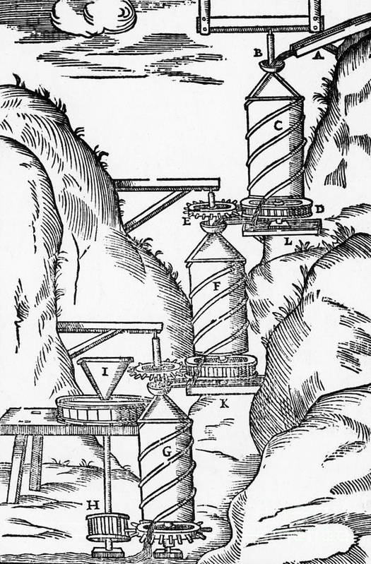 Historic Poster featuring the photograph Watermill, Reversed Archimedean Screw by Science Source