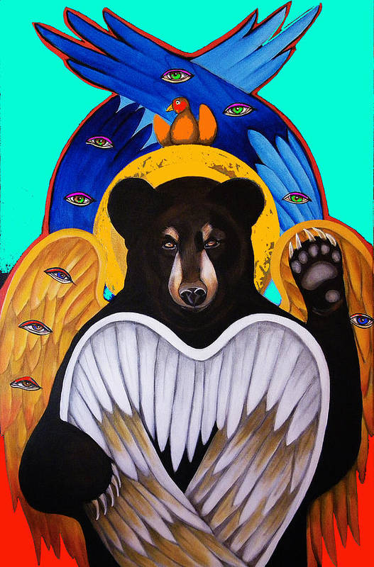 Animal Poster featuring the painting Black Bear Seraphim Photoshop by Christina Miller