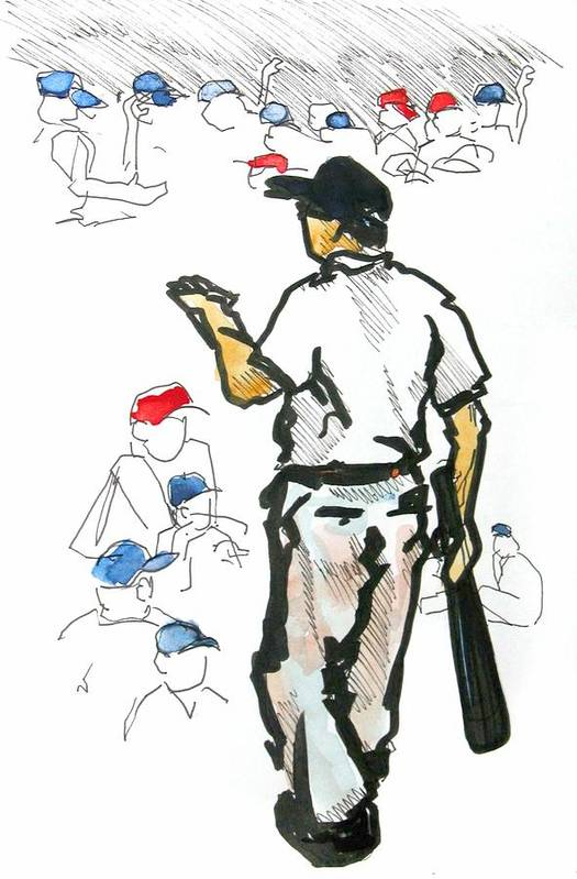Baseball Poster featuring the drawing Coach Mac Teaching The Younglings by David Beers