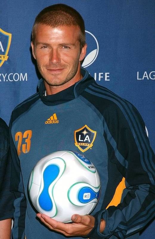 Los Angeles Galaxy''s David Beckham At New York Red Bulls Press Conference Poster featuring the photograph David Beckham At The Press Conference by Everett