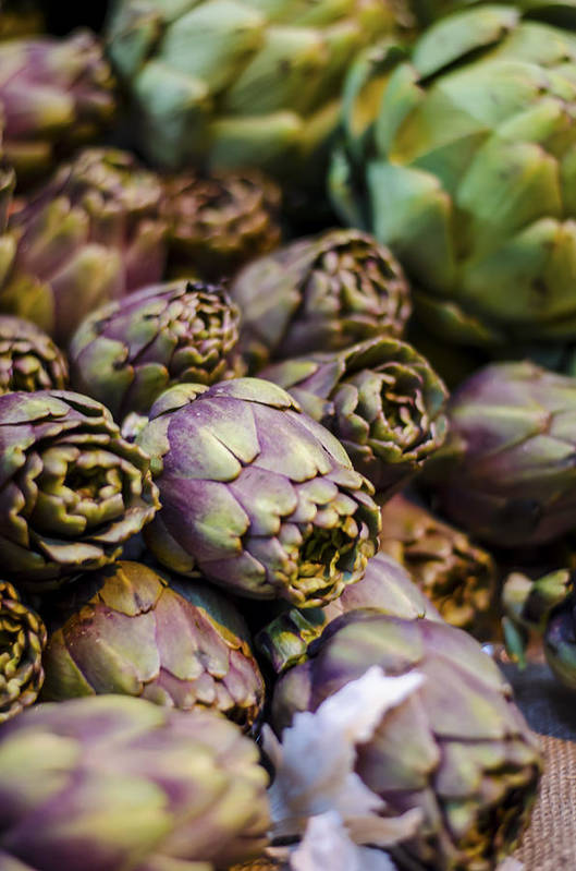 Artichoke Poster featuring the photograph Purple Artichokes At The Market by Heather Applegate