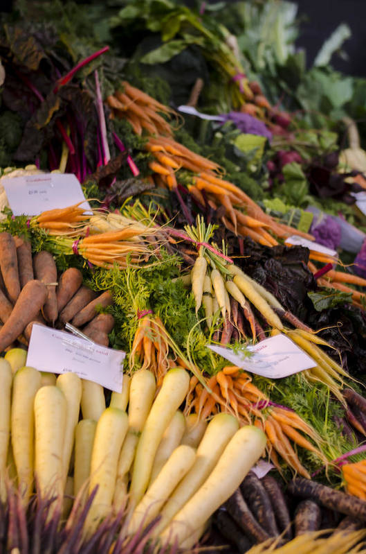 Carrot Poster featuring the photograph Root Vegetables At The Market by Heather Applegate