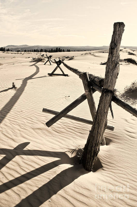 Coral Pink Sand Dunes Poster featuring the photograph Sand And Fences by Heather Applegate