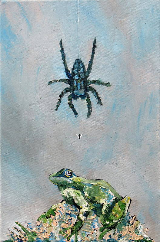 Spider Poster featuring the painting Spider Fly And Toad by Fabrizio Cassetta