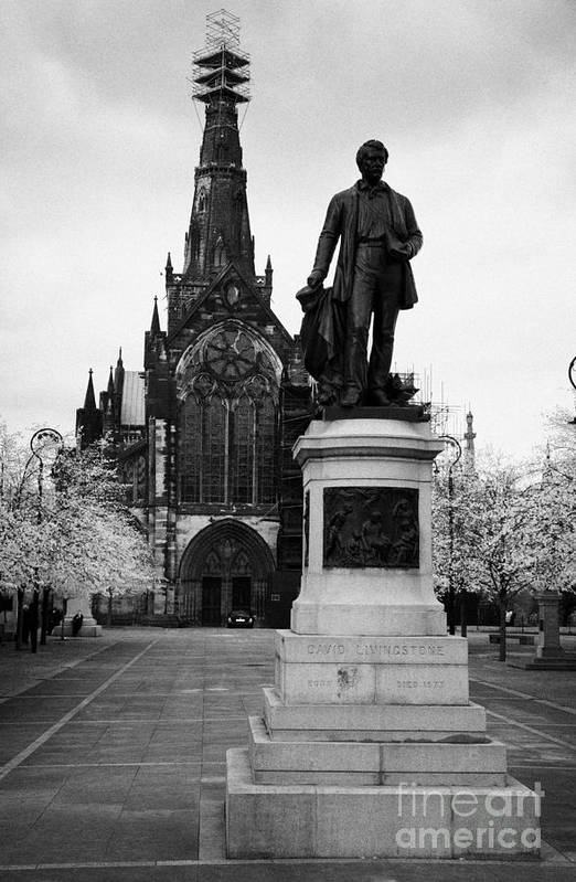 Glasgow Poster featuring the photograph Statue Of David Livingstone Outside Glasgow Cathedral Scotland Uk by Joe Fox