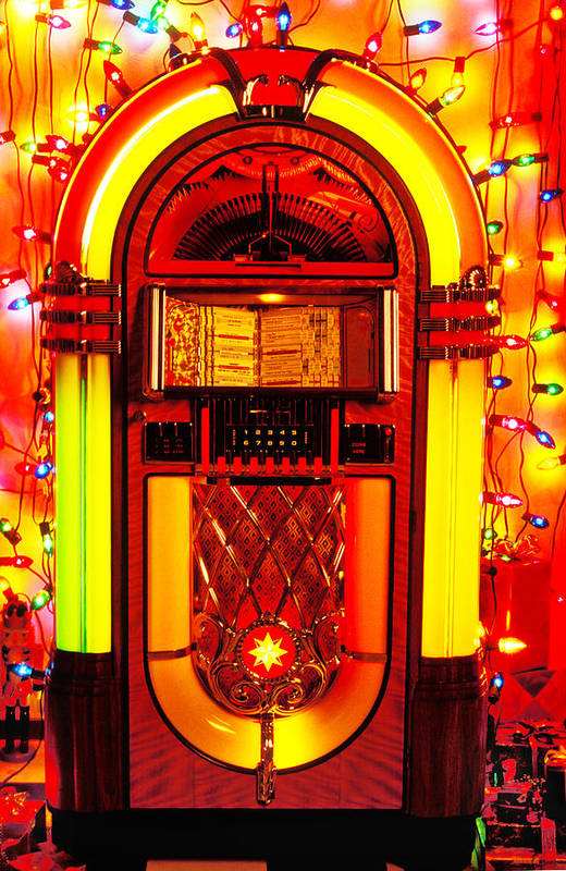 Juke Box Poster featuring the photograph Juke Box With Christmas Lights by Garry Gay