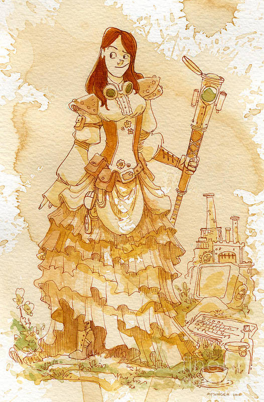 Steampunk Poster featuring the painting Lady Codex by Brian Kesinger