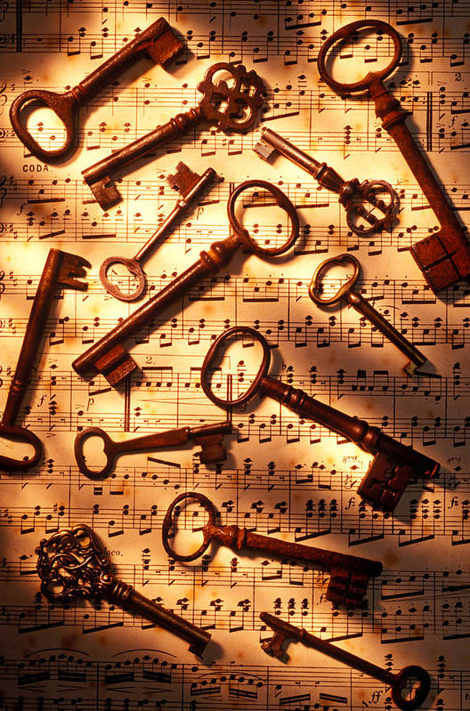 Key Poster featuring the photograph Old Skeleton Keys On Sheet Music by Garry Gay
