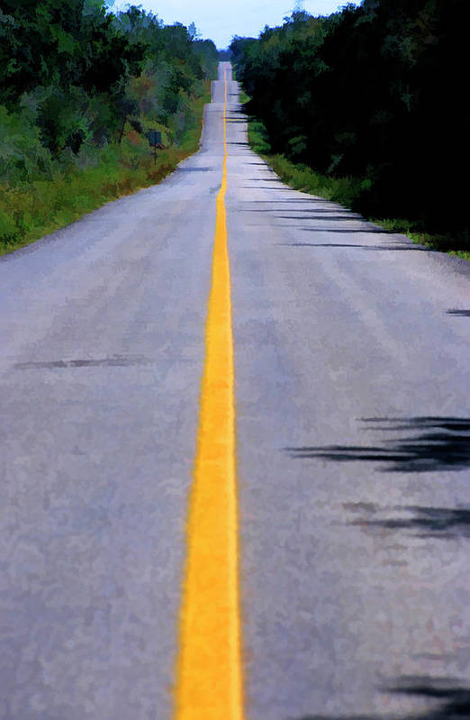 Absence Poster featuring the photograph Yellow Dividing Line Marking An Empty Road Between Uxmal And Kabah by Sami Sarkis