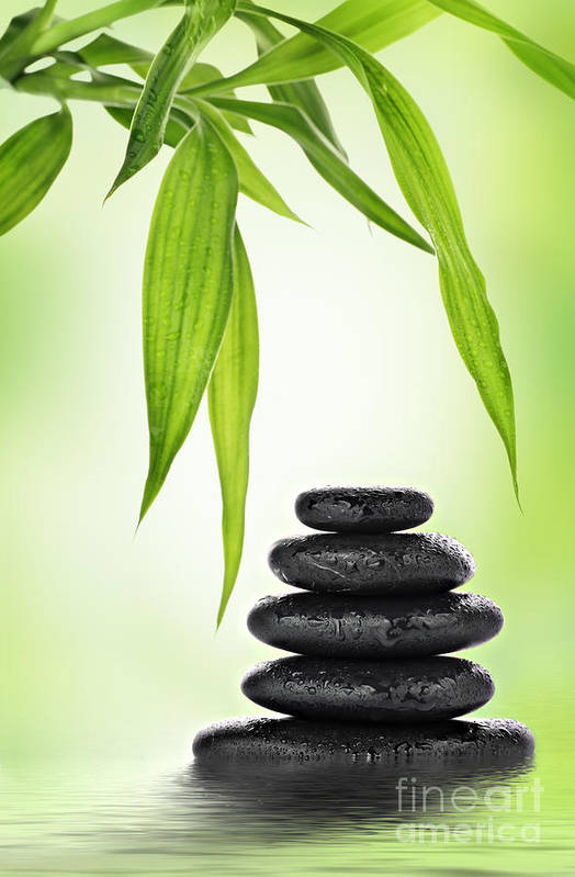 Stones Poster featuring the mixed media Zen Basalt Stones And Bamboo by Pics For Merch