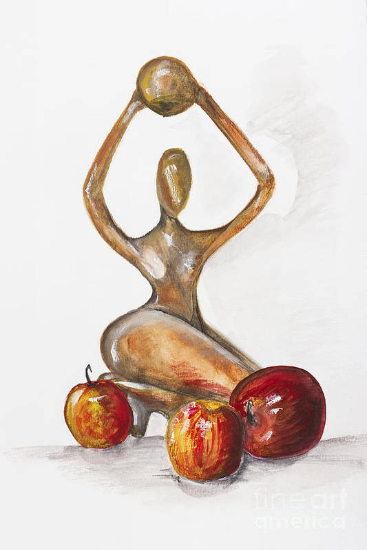 Apples Poster featuring the painting Woman In The African Style With Red Apples by Irina Gromovaja