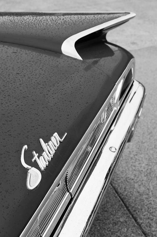 1960 Ford Galaxie Starliner Taillight Emblem Poster featuring the photograph 1960 Ford Galaxie Starliner Taillight Emblem by Jill Reger