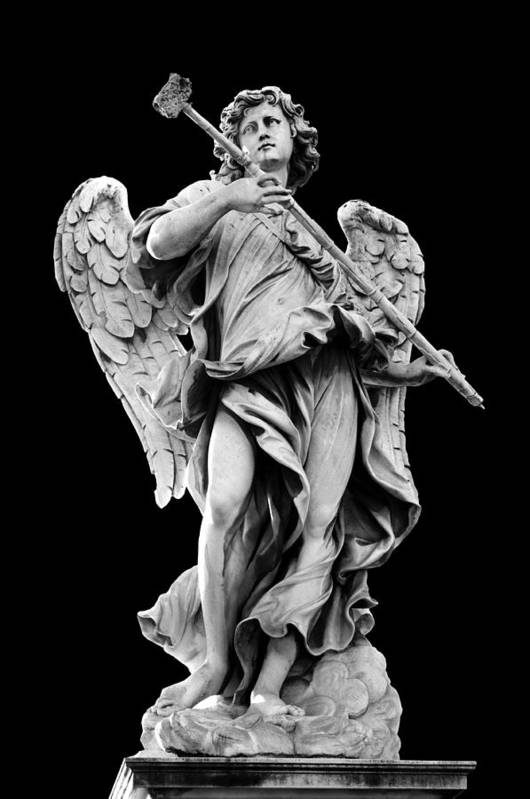 Black Background Poster featuring the photograph Angel With The Sponge by Fabrizio Troiani