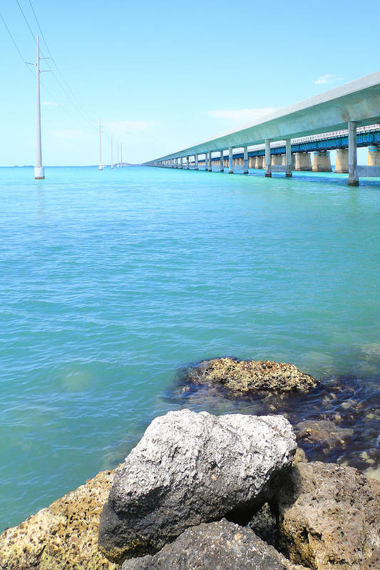 Florida Poster featuring the photograph Seven Mile Bridge-2 by Rudy Umans