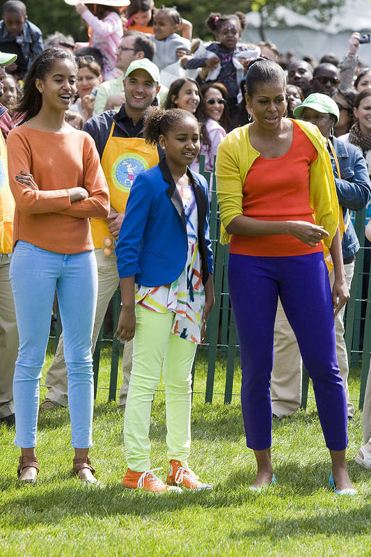 Easter Egg Roll South Lawn Easter Obama Barack Obama Michelle Obama Sasha Obama Malia Obama First Lady Fasion 2012 South Lawn White House Full Length Poster featuring the photograph The First Lady And Daughters by JP Tripp