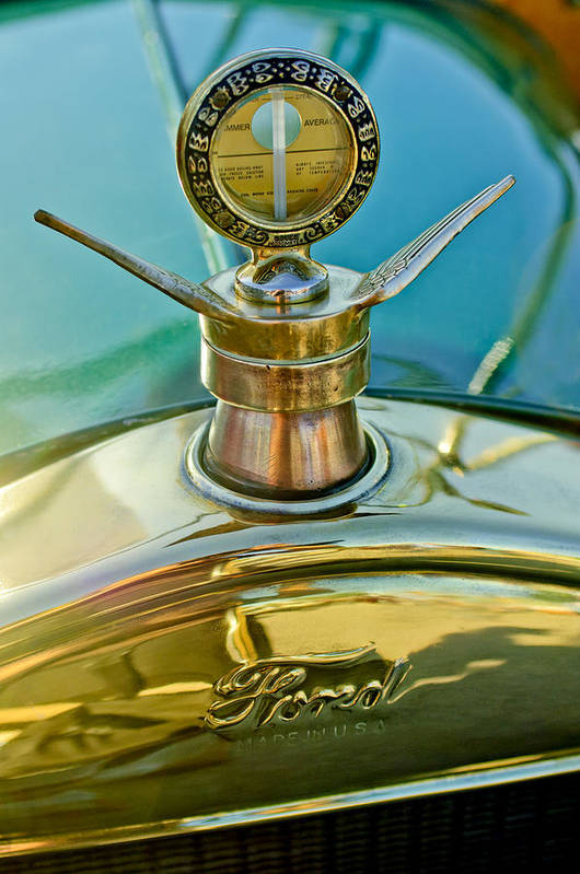 1923 Ford Model T Poster featuring the photograph 1923 Ford Model T Hood Ornament by Jill Reger