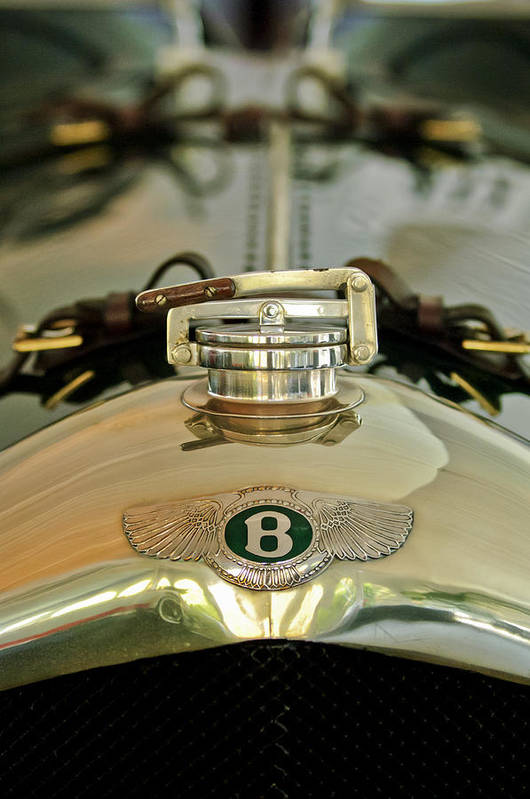 1925 Bentley 3-liter 100mph Supersports Brooklands Two-seater Poster featuring the photograph 1925 Bentley 3-liter 100mph Supersports Brooklands Two-seater Radiator Cap by Jill Reger