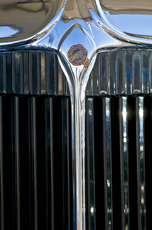 1932 Chrysler Victoria Poster featuring the photograph 1932 Chrysler Hood Ornament by Jill Reger