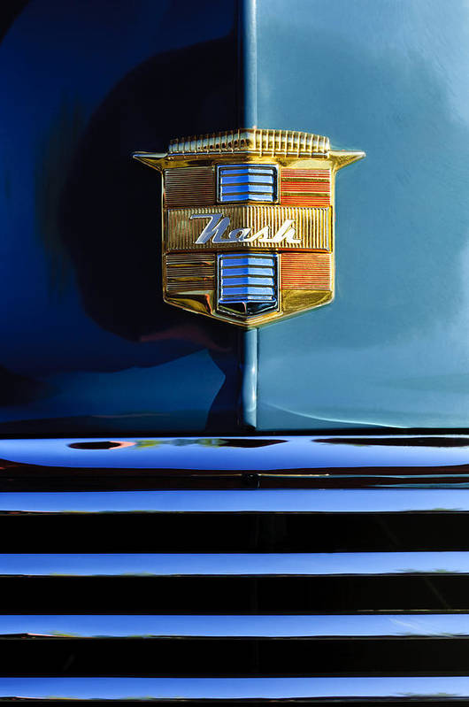 1947 Nash Suburban Poster featuring the photograph 1947 Nash Surburban Hood Ornament by Jill Reger