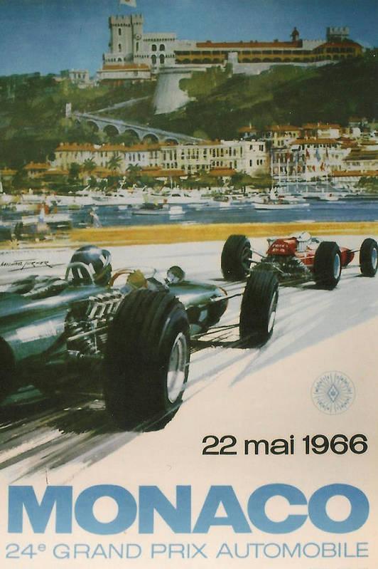 Monaco Grand Prix Poster featuring the digital art 24th Monaco Grand Prix 1966 by Georgia Fowler